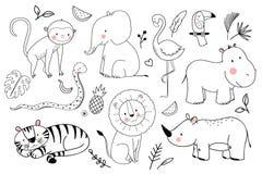 Ensemble de vecteur d'animaux de safari illustration libre de droits