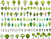 Ensemble de vecteur d'arbres avec le style différent illustration stock