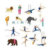 Ensemble de vecteur d'artistes, d'acrobates et d'animaux de cirque sur le fond blanc Icônes, éléments de conception Photographie stock