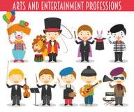 Ensemble de vecteur d'arts et de professions de divertissement illustration de vecteur
