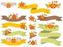 Ensemble de vecteur d'Autumn Floral Ribbons illustration libre de droits