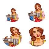 Ensemble de vecteur d'avatars féminins dans le style d'art de bruit illustration stock
