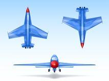 Ensemble de vecteur d'avions militaires, avions de chasse Combattez l'avion dans différentes vues, aviation, véhicule aérien, avi illustration de vecteur