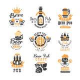 Ensemble de vecteur d'emblèmes créatifs pour le bar de bière, la barre ou la société de brassage boisson alcoolique Calibres élég illustration de vecteur