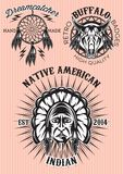 ensemble de vecteur d'emblèmes sur le natif américain de thème Photos stock