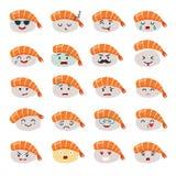 Ensemble de vecteur d'emoji de sashimi Sushi d'Emoji avec des icônes de visages Photo stock
