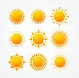 Ensemble de vecteur d'ensemble brillant d'icône du soleil Images stock
