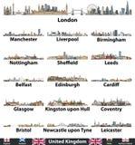 Ensemble de vecteur d'horizons des plus grandes villes du Royaume-Uni Drapeaux du Royaume-Uni, de l'Angleterre, de l'Ecosse, du P illustration de vecteur