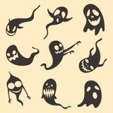 Ensemble de vecteur d'horreur effrayante et fâchée de spectre d'apparition de fantôme un ciel étoilé drôle de fantôme d'ami Spiri illustration de vecteur