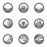 Ensemble de vecteur d'icône de cercle de l'eau illustration libre de droits