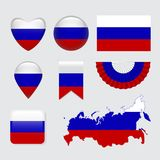 Ensemble de vecteur d'icône de drapeau de la Russie et de label, illustration de vecteur Photo libre de droits