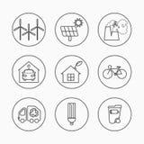 Ensemble de vecteur d'icônes d'Eco Ligne mince signes écologiques pour infographic, le site Web ou l'APP Lampe d'économie d'énerg illustration libre de droits