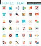 Ensemble de vecteur d'icônes plates de la publicité de media illustration stock
