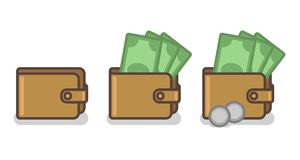 Ensemble de vecteur d'icônes de portefeuille avec des billets de banque et des pièces de monnaie illustration libre de droits