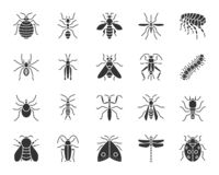 Ensemble de vecteur d'icônes de silhouette de noir d'insecte de danger illustration stock