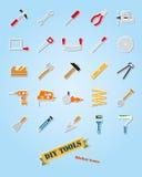 Ensemble de vecteur d'icône d'autocollant d'assortiment d'outils de DIY illustration libre de droits