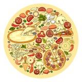Ensemble de vecteur d'icône d'ingrédient de pizza Photo libre de droits