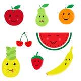 Ensemble de vecteur d'icône de caractères de fruit de bande dessinée Photo stock