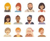 Ensemble de vecteur d'icône de personnes Différentes nationalités heureuses d'homme et de femme Avatars fille et garçon illustration de vecteur