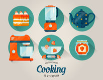 Ensemble de vecteur d'icône de vaisselle de cuisine cuisine Images libres de droits