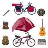 Ensemble de vecteur d'icônes d'équipement de camping dans le style plat illustration libre de droits
