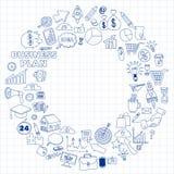 Ensemble de vecteur d'icônes d'affaires de griffonnage Image libre de droits