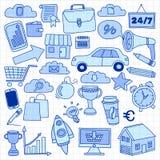 Ensemble de vecteur d'icônes d'affaires de griffonnage Images stock