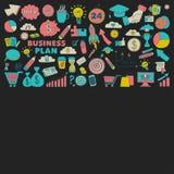 Ensemble de vecteur d'icônes d'affaires de griffonnage Image stock