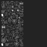 Ensemble de vecteur d'icônes d'affaires de griffonnage sur le tableau noir Images stock