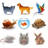 Ensemble de vecteur d'icônes d'animaux familiers Photo stock