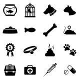Ensemble de vecteur d'icônes d'animaux familiers Photo libre de droits