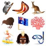 Ensemble de vecteur d'icônes d'Australie illustration de vecteur