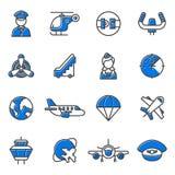 Ensemble de vecteur d'icônes d'aviation Photo stock