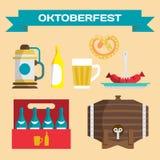 Ensemble de vecteur d'icônes dans un style plat pour Oktoberfest t différent Photographie stock