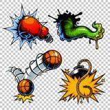 Ensemble de vecteur d'icônes de bandes dessinées de couleur Image libre de droits