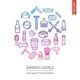 Ensemble de vecteur d'icônes de Barber Shop Modern Flat Thin inscrites dans le RO Image stock