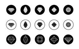 Ensemble de vecteur d'icônes de diamant Images libres de droits