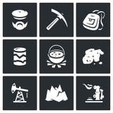 Ensemble de vecteur d'icônes de géologie illustration de vecteur