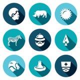 Ensemble de vecteur d'icônes de l'Afrique Africain, animal, la chaleur, safari, voyage, chasse, virus, médecine Photos libres de droits