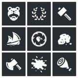 Ensemble de vecteur d'icônes de la vie de Viking Barbare, Laurel Wreath, marteau, bateau, bouclier, or, hache, sang, viande Photographie stock libre de droits