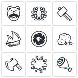 Ensemble de vecteur d'icônes de la vie de Viking Barbare, Laurel Wreath, marteau, bateau, bouclier, or, hache, sang, viande Images stock