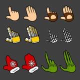 Ensemble de vecteur d'icônes de main de silhouette de couleur, signes d'isolement Images libres de droits