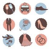 Ensemble de vecteur d'icônes de mariage Image libre de droits