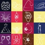 Ensemble de vecteur d'icônes de Noël Images stock