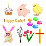 Ensemble de vecteur d'icônes de Pâques sur le fond blanc d'isolement illustration stock