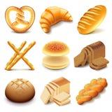 Ensemble de vecteur d'icônes de pain et de boulangerie Photos libres de droits