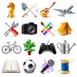 Ensemble de vecteur d'icônes de passe-temps Images stock