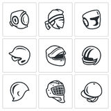 Ensemble de vecteur d'icônes de sports chapeau, de chapeau et de bandeau Kudo, thaïlandais de Muay, enfermant dans une boîte, bas Photos libres de droits