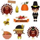 Ensemble de vecteur d'icônes de thanksgiving Photo libre de droits