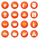 Ensemble de vecteur d'icônes de thanksgiving Photographie stock libre de droits